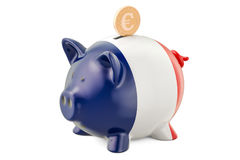 Investments in the France. Piggy bank with flag and golden euro Stock Photos