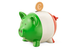 Investments in Italy. Piggy bank with flag and golden euro coin, Royalty Free Stock Image