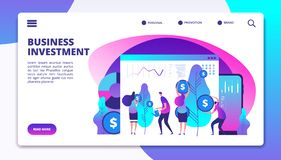 Investments landing page. Investment fund managers make profit for clients. Cash revenue consolidation business vector vector illustration