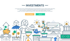 Investments line flat design banner with female managing finance Stock Photos