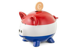 Investments in Netherlands. Piggy bank with flag and golden euro Royalty Free Stock Photos