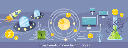 Investments in New Technologies. Horizontal Banner Royalty Free Stock Photos