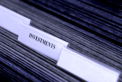 Investments Organized in Filings Tabs Stock Photography