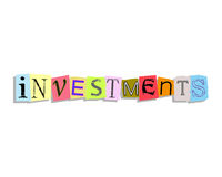 Investments Paper Letters Stock Photo