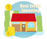 Investments in real estate. House on background of banknotes and coins. Business concept. Cartoon, flat style, vector. Investments in real estate. House on the Stock Photos