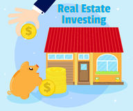 Investments in real estate. Purchase of beautiful house. businessman's hand with a gold coin. Piggy bank near coins Royalty Free Stock Image