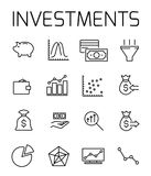 Investments related vector icon set. Well-crafted sign in thin line style with editable stroke. Vector symbols isolated on a white background. Simple Royalty Free Stock Photography