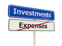 Investments road sign Royalty Free Stock Images