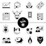 Investments And Stock Line Icons Set Stock Image