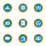 Investments in tech icons set, flat style. Investments in tech icons set. Flat set of 9 investments in tech vector icons for web isolated on white background Stock Photo