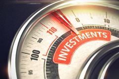 Investments - Text on Conceptual Scale with Red Needle. 3D. Stock Image