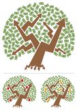Investments Tree. Abstract picture of investment portfolio depicted as a money tree. Below are 2 different versions, for real estate and for gold investing. No Royalty Free Stock Photo