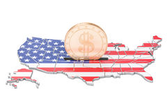 Investments in the USA, business concept. 3D rendering Royalty Free Stock Photos