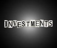 Investments word concept. 3d Illustration depicting a set of cut out printed letters arranged to form the word investments Stock Photography