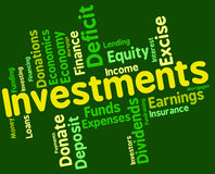 Investments Word Indicates Investor Words And Opportunity Stock Image