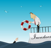 Investnemt and finance help. Investor throws lifebuoy business owner. Finance help. Vector Royalty Free Stock Images