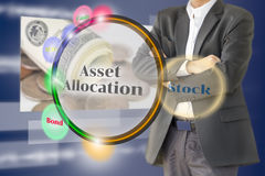 The investor with the Asset allocation diagram on  Virtual scree Royalty Free Stock Images