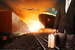 Investor and container trains ,commercial ship on port freight c Stock Photography