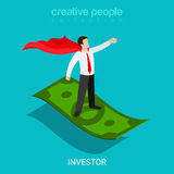 Investor funding evangelist super hero flat 3d isometric vector vector illustration