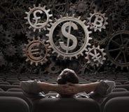 Investor oder Vermittler mit Währungen übersetzt das Einschließen bitcoin 3d von Illustration Lizenzfreies Stockbild