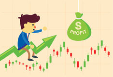 Investor riding on stock graph Stock Photos
