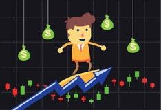 Investor surfing on stock market. Stock Photos