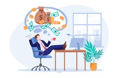 Free Investor Thinks About Money Profit Or Investment Income. Office Worker Dreams Of Passive Income. Vector Illustration Royalty Free Stock Images - 165760869
