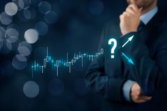 Investor and trader make decision. Investor and trader concept. Investor with tradeview graph make decision - sell or buy Stock Image