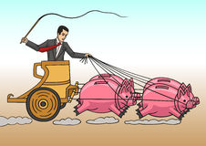 Investor. An investor uses his savings to move forward royalty free illustration