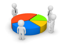 Investors. 3d men standing beside pie chart with several sectors Royalty Free Stock Images
