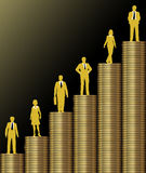 Investors grow wealth on gold coin stack chart. Investment people stand on chart of  economic growth as graph of stacks of gold coins Stock Image