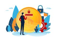 The investors holds money. Financing creative idea. Success concept. Businessman with gold coin. Start up project. Flat cartoon Stock Photography