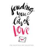 Inviandogli i lotti di amore Cartolina d'auguri di giorno dei biglietti di S Fotografie Stock Libere da Diritti