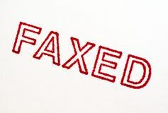 Inviato via fax: Stampa del timbro di gomma isolata su bianco Fotografia Stock Libera da Diritti