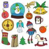 Invierno, Año Nuevo, iconos del esquema de la Navidad fijados Elementos decorativos por las vacaciones de invierno para el diseño stock de ilustración