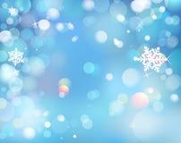 Invierno azul que brilla el fondo de Bokeh con los copos de nieve Vector ilustración del vector