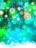 Invierno azulverde abstracto con los copos de nieve. EPS 8 Imagen de archivo libre de regalías