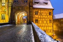 Invierno-Bamberg-Alemania-Baviera blanca imágenes de archivo libres de regalías