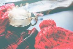 Invierno caliente Autumn Time New Year del vapor de la taza de té fotos de archivo libres de regalías
