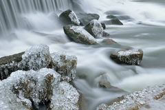 Invierno, cascada del río del conejo Fotos de archivo