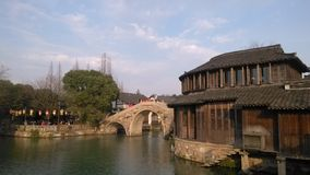 Invierno China de la opinión de Wuzhen Watertown foto de archivo
