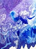 Invierno colorido del frío del modelo del hielo de la nieve de la Navidad del fondo del arte de la acuarela Fotografía de archivo