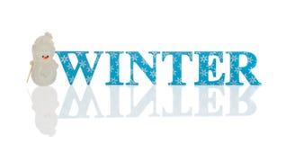 Invierno con el muñeco de nieve Foto de archivo libre de regalías