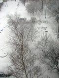 Invierno con nieve que cae Foto de archivo