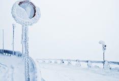 Invierno congelado de la señal Imagenes de archivo