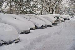 Invierno crudo en Bucarest, capital de Rumania Foto de archivo libre de regalías