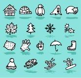 invierno, días de fiesta, iconos de la nieve fijados Fotos de archivo