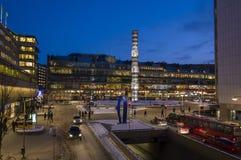 Invierno de Estocolmo del cuadrado de Sergels Fotos de archivo
