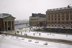 Invierno de Estocolmo del parlamento Foto de archivo libre de regalías