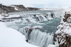 Invierno de Islandia de la cascada de Gulfoss Imágenes de archivo libres de regalías